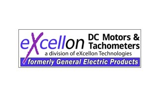 Excellon DC Motors & Tachometers logo with text: a division of excellon Technologies, formerly General Electric Products